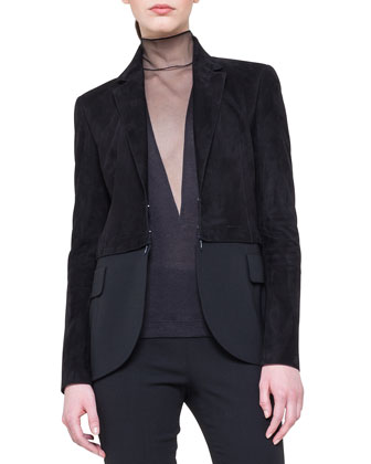Suede Detachable-Bottom Combo Jacket