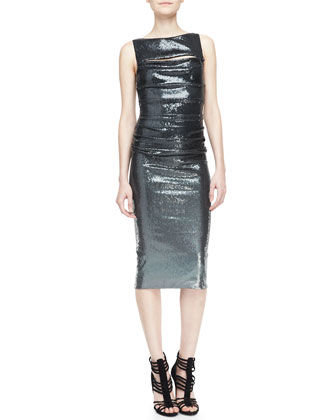 Metallic Sleeveless Peekaboo Sheath Dress, Charcoal
