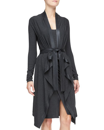 Long Cozy Cardigan with Leather Trim, Charcoal