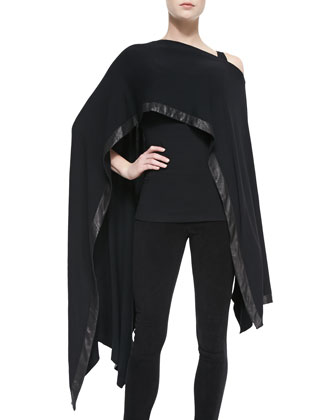 Cape with Leather Border