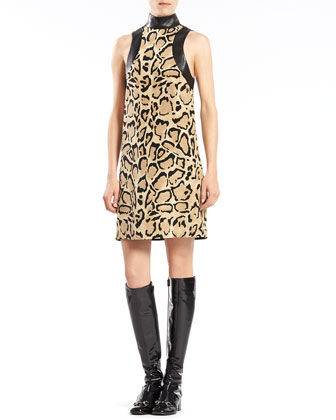 Leopard Print Silk Sleeveless Dress