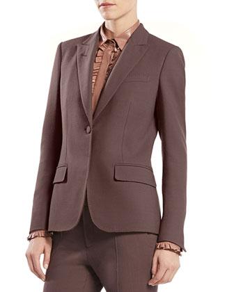 Stretch Wool Single-Button Jacket