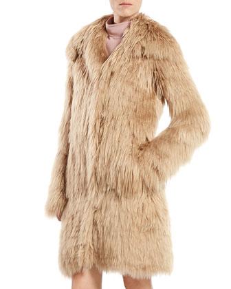 Single Breasted Alpaca Fur Jacket