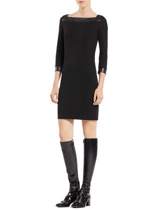 Three-Quarter-Sleeve Viscose Dress