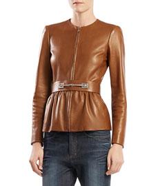 Belted Leather Jacket