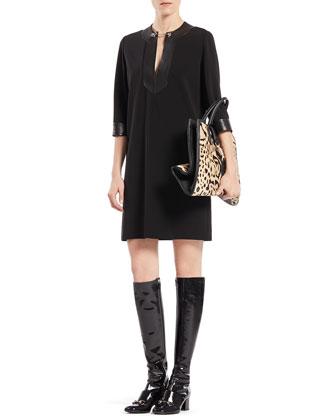 Viscose Jersey and Leather Horsebit Dress