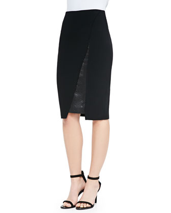 Asymmetric Insert-Detail Pencil Skirt