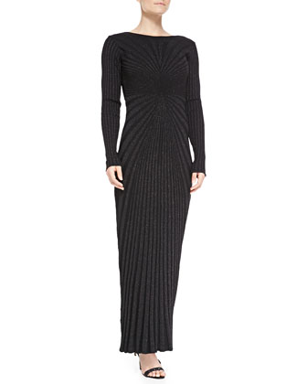 Long-Sleeve Open-Back Metallic Knit Gown