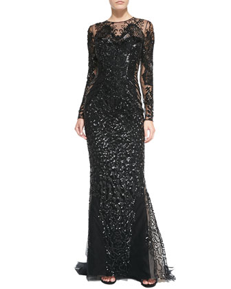 Lace-Embroidered Sheer Gown, Black