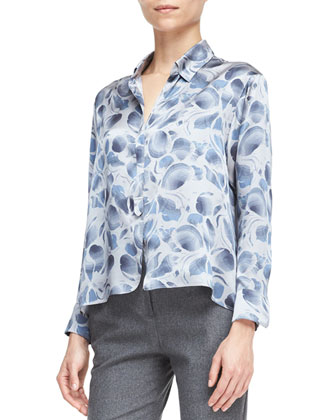 Abstract-Print Long-Sleeve Blouse