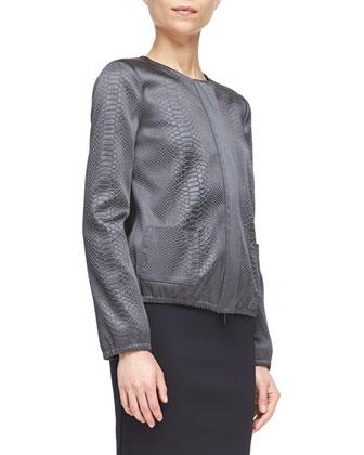 Snake-Embossed Zip-Front Shirt Jacket