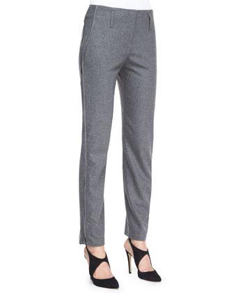 Flannel Side Zip-Detail Pants