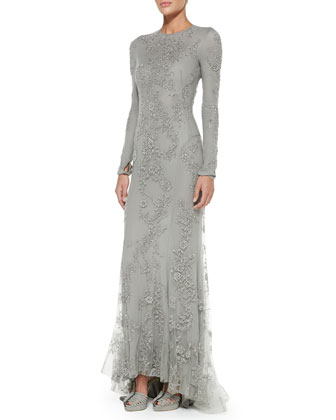 Long-Sleeve Beaded Evening Gown