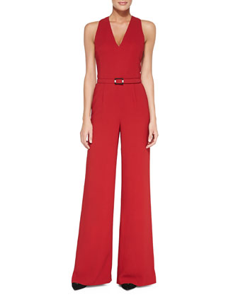 Charisse Sleeveless Belted Jumpsuit