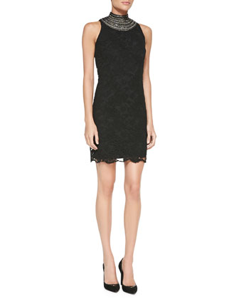 Sondra Beaded-Neck Lace Dress