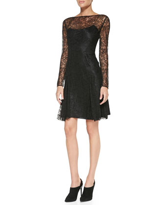 Gabrielle Long-Sleeve Lace Dress