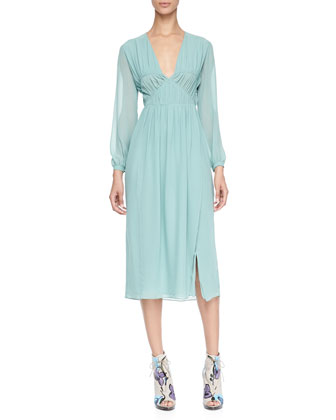 Smocked Silk Dress, Pale Teal Blue