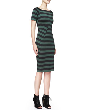 Striped Short-Sleeve Dress, Deep Green