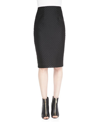Fil Coupe Pencil Skirt, Black
