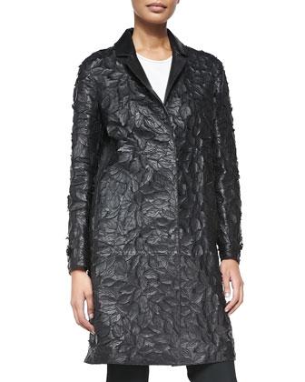 Leather Lasercut Leaf Coat, Black