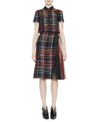 Short-Sleeve Metallic Flannel Dress, Blue/Multi