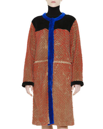 Honeycomb-Cutout Coat with Shearling