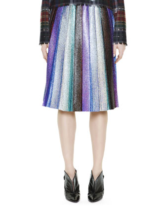 Metallic Pleated Skirt, Rainbow