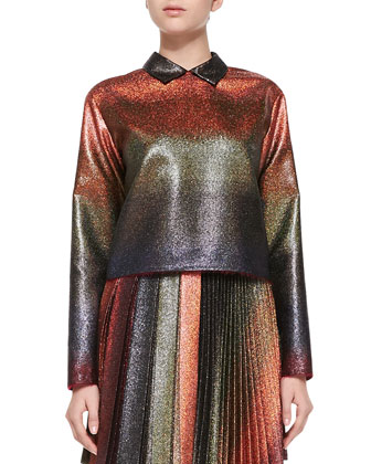 Long-Sleeve Metallic Shirt, Copper/Multi
