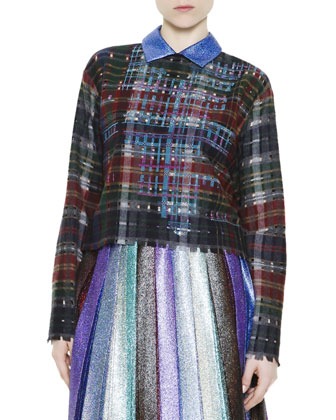 Collared Metallic Plaid Sweater with Crystals & Cutouts