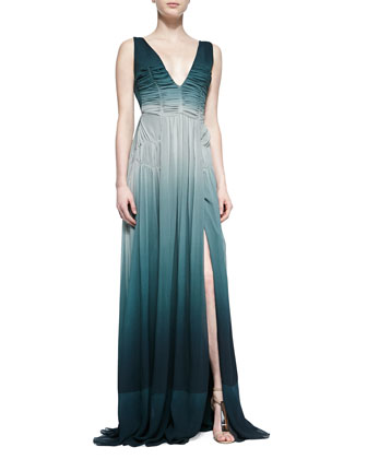 Silk-Crepe Gathered Dress, Storm Green