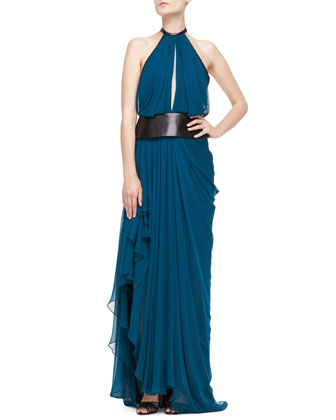 Asymmetric Draped Halter Gown, Empress Green