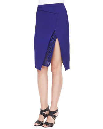 Envelope Skirt with Lace Embroidery, Imperial Blue