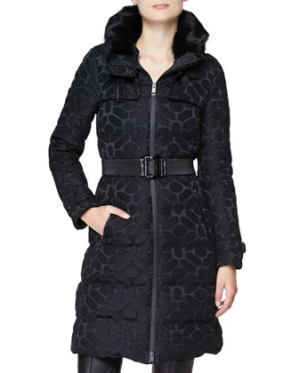 Long Puffer Coat with Fur-Lined Hood