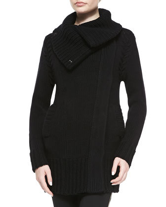 Wool/Cashmere Chunky Coat, Black