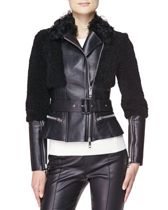 Fitted Leather & Shearling Fur Biker Jacket