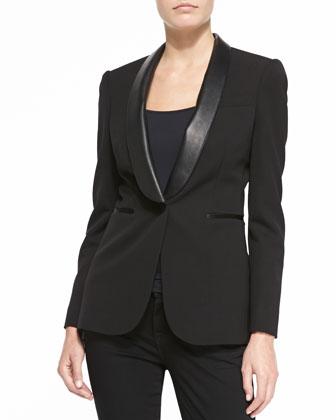 Jacket with Leather Shawl Lapels