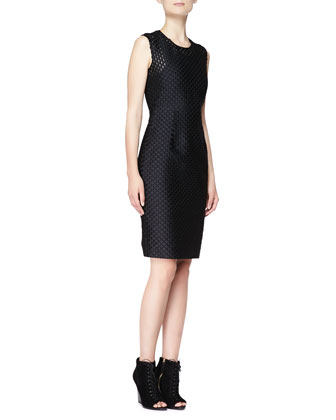 Sleeveless Fil Coupe Sheath Dress, Black