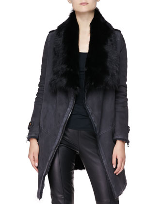 Long Coat with Shearling Lining, Charcoal