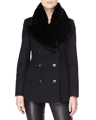 Double-Breasted Pea Coat with Fur Collar