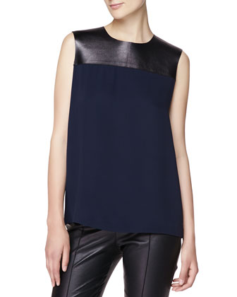 Silk Blouse with Leather Yoke, Navy