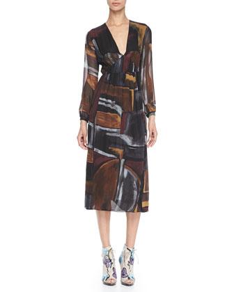 Smocked Painted Silk Dress