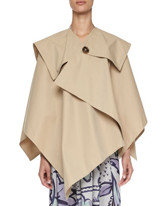Classic Cotton Trench Cape, Honey