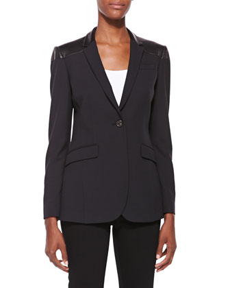 Leather-Lapel One-Button Blazer, Black