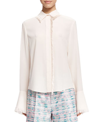 Fringe-Trim Button-Up Blouse, Cream