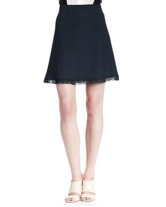 Fringe-Hem A-Line Skirt