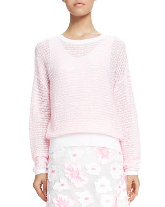 Textured-Stripe Summer Sweater