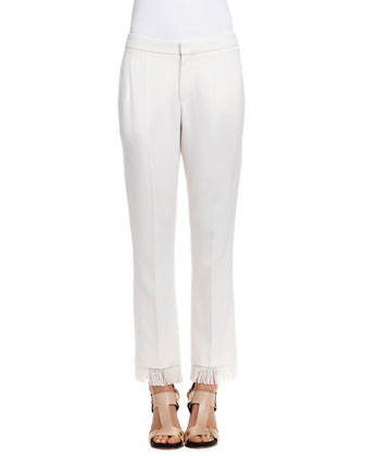 Tailored Fringe-Hem Pants