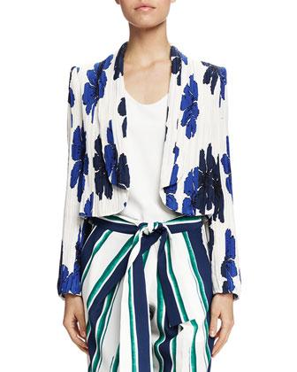 Crinkled Floral-Print Jacket