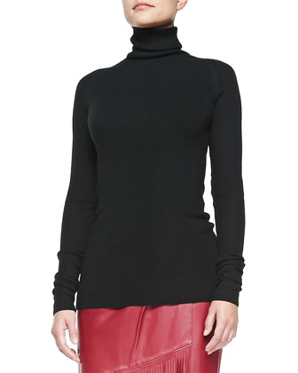 Cashmere Endless Turtleneck Sweater, Black