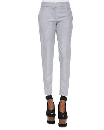 Shimmer Pinstripe Slim Trousers, Pewter